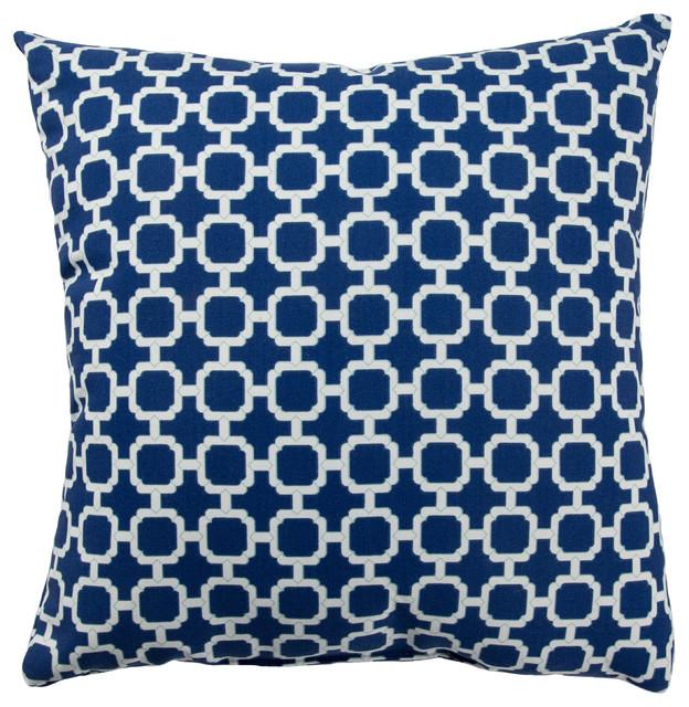 "Jaipur Living Hockley Blue/White Trellis Indoor/Outdoor Throw Pillow 13x18"""