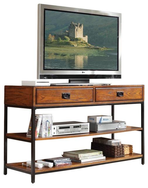 Modern Craftsman Tv Stand Distressed Oak Industrial