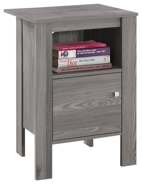 Accent Table Night Stand With Storage, Gray.