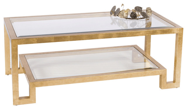 Ordinaire Worlds Away Two Tier Gold Leaf Coffee Table WINSTON G