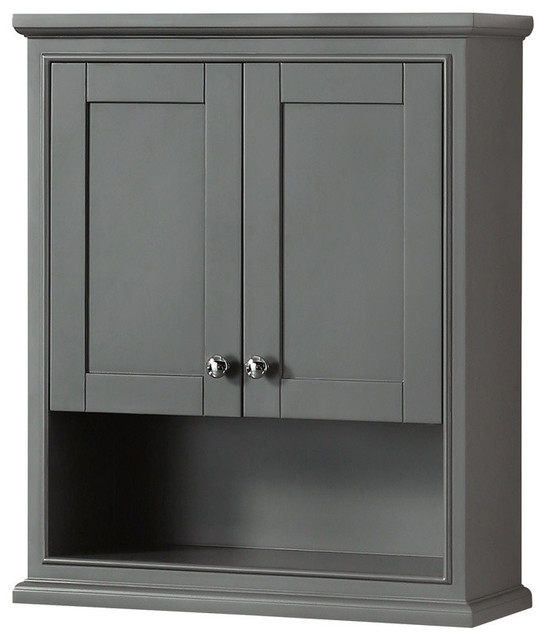 "Wyndham Collection Wcs2020wc Deborah 25"" Wall Mounted Cabinet, Dark Gray."