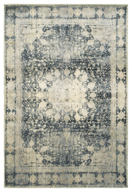 Newcastle Home Echo Distressed Medallion Ivory And Blue