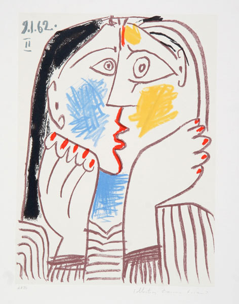 Pablo Picasso Estate Collection Visage Ii Hand Signed With Coa.