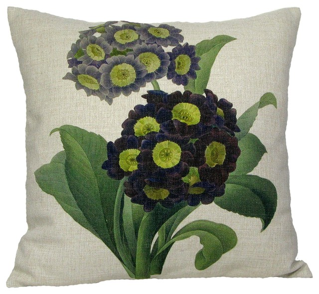Purple Primrose Throw Pillow Case, Without Insert.