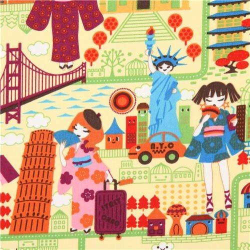 yellow travel anime Asia fabric Trans Pacific Textiles USA