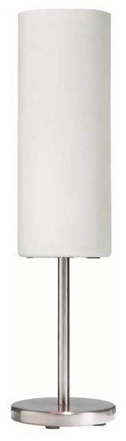 Dainolite White Frosted Glass Table Lamp With Satin Chrome Finish.