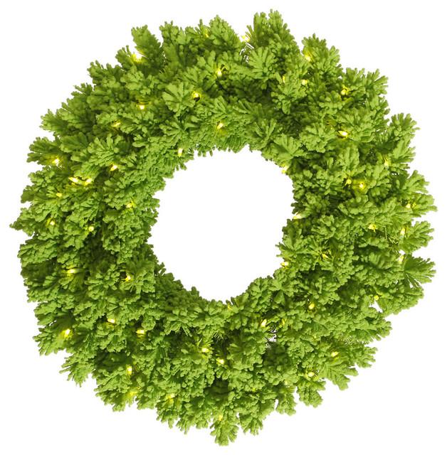 Flocked Wreath, Wreath: Lime, Lights: Aqua Led, 24.