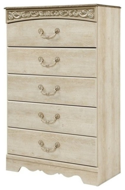 Etonnant Ashley Catalina 5 Drawer Wood Chest, Antique White