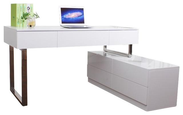 J M Furniture Kd12 Modern Office Desk, White Modern Office Desk