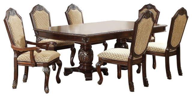 Chateau De Ville Double Pedestal Formal Dining Table 7 Piece Set, Cherry  Finish Dining