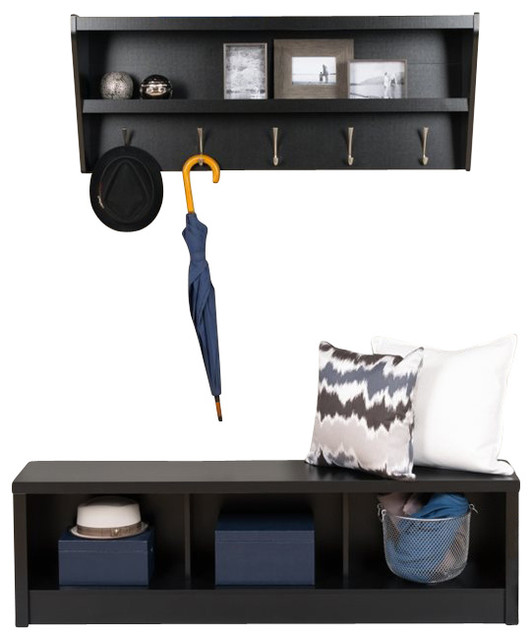 2 Piece Floating Shelf And Bench Set, Black Contemporary Hall Trees
