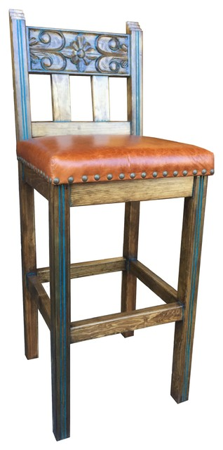 Spanish Colonial Stool With Leather Southwestern Bar