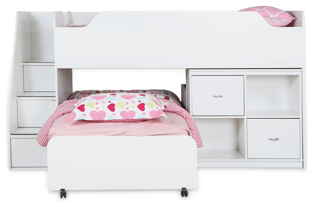 South Shore Mobby Twin Loft Bed with Trundle and Storage Unit, Pure White