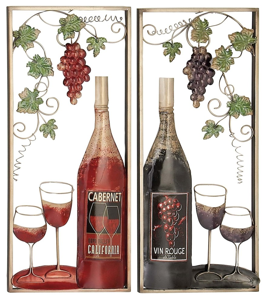 Traditional Frame Wine Bottle And Glasses Iron Wall Decor 2 Piece Set Farmhouse Metal Wall Art By Brimfield May