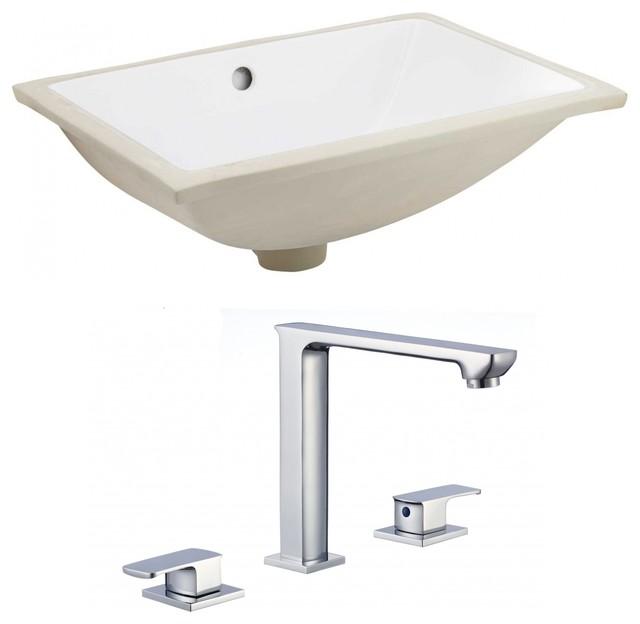 Rectangle Undermount Sink Set, Chrome Hardware With 3 Hole ...