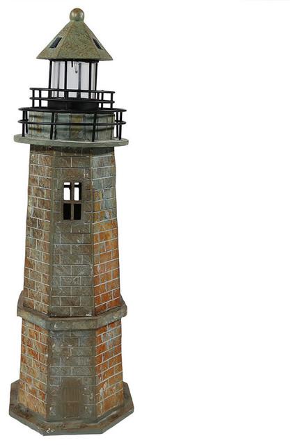 Sunnydaze Outdoor Patio Or Garden Solar Led Lighthouse Statue Decor 35
