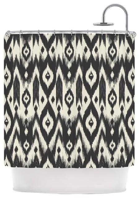 black and cream shower curtain. KESS InHouse Amanda Lane  Black Cream Tribal Ikat Tan Dark Shower Curtain contemporary