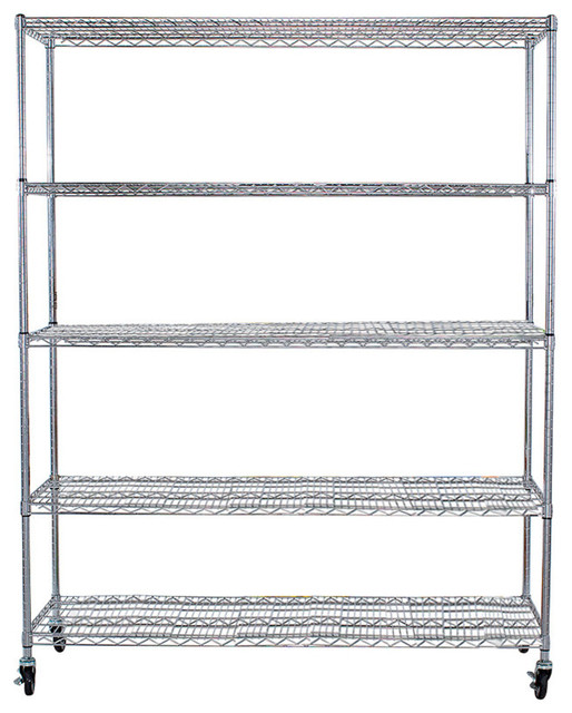 "5-Tier NSF 60""x24""x72"" Heavy Duty Wire Shelving Rack With Wheels, Chrome - Contemporary - Garage ..."
