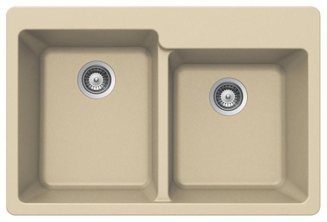 Houzer Quartztone M-175 Sand 60/ 40 Double Bowl Topmount Sink.