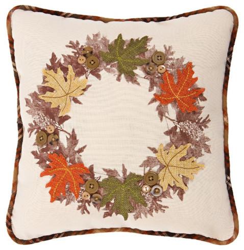 Maple Wreath Fall Decorative Pillow 40x40 Traditional Gorgeous Autumn Decorative Pillows