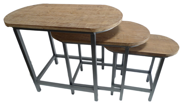 Cheungs set of 3 oval wood top nesting table coffee for Oval farmhouse coffee table