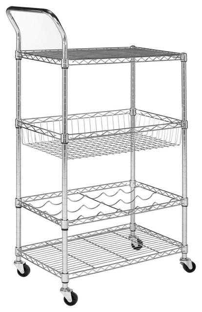 Happimess Chelsea 3-Shelf Adjustable Kitchen Cart With Wine Storage, Chrome.