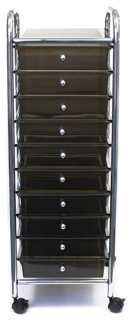 Cropper Hopper Home Center Rolling Cart With 10 Drawers-15.25x37.5x13 Smoke.