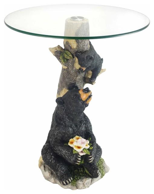 24 Quot H Glass Top Color Sculpture End Table Bear Rustic