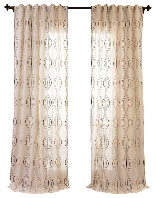 Suez Bronze Embroidered Faux Linen Sheer Curtain Single Panel ...