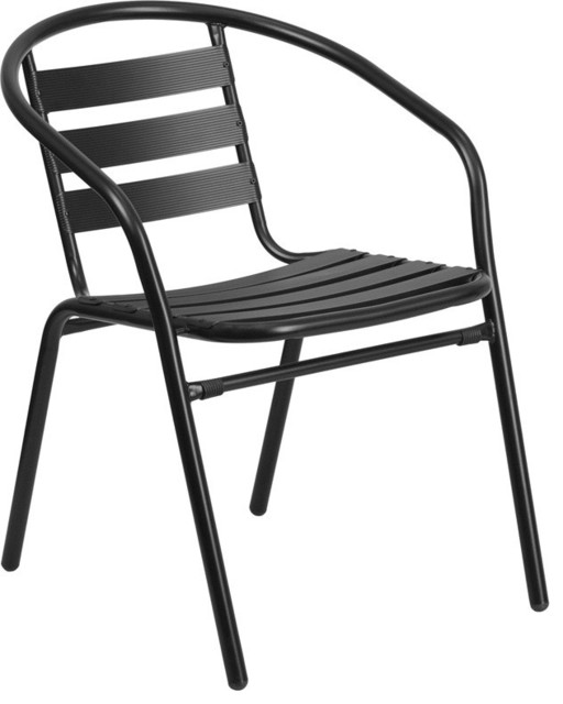 Metal Stacking Patio Chair, Black.