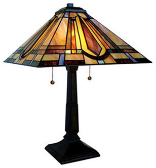 18 5 stained glass mission style table lamp craftsman table lamps. Black Bedroom Furniture Sets. Home Design Ideas