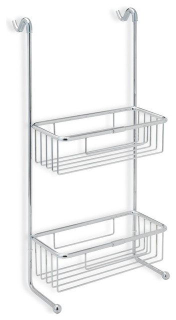 Over-the-Door Chrome Wire Double Shower Basket - Contemporary ...
