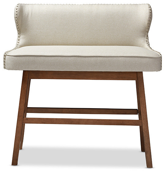 Gradisca Fabric Button Tufted Upholstered Bar Bench Banquette Transitional Dining Benches