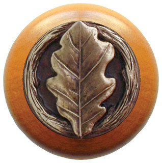 Notting Hill Oak Leaf/Maple Wood Knob - Rustic - Cabinet And Drawer Knobs - by Knobs and Beyond