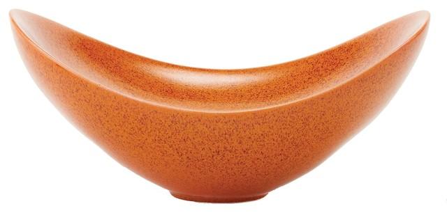 Contemporary Decorative Bowls Entrancing Global Views Swoop Orange Decorative Bowl  Contemporary 2018