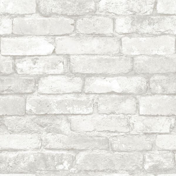 Gray and White Brick Peel And Stick Wallpaper