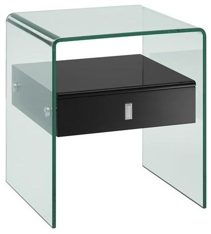 Bari High Gloss Black Lacquer Nightstand End Table
