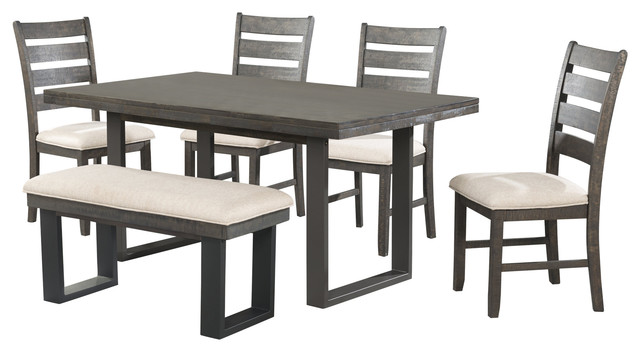 Sullivan Dining Table With 4 Side Chairs And Bench.