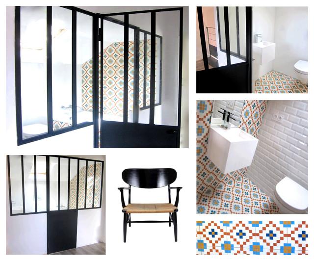 petite salle de bain derrière une verrière à Dijon - Contemporain ...