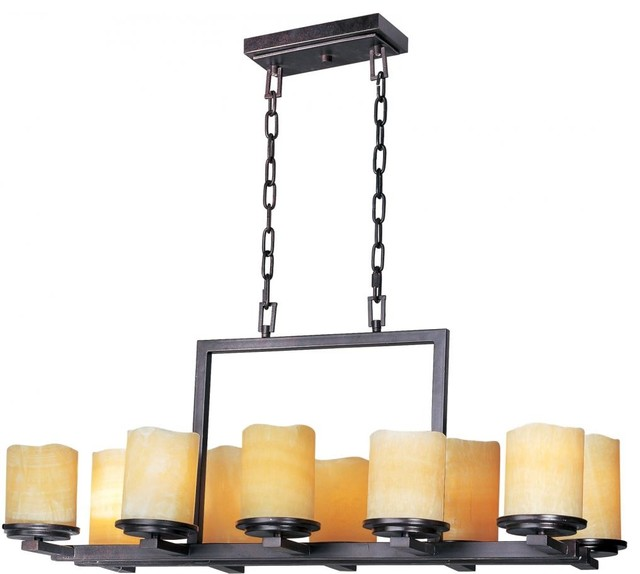 Ten Light Rustic Ebony Stone Candle Glass Candle Chandelier – Pillar Candle Chandelier Rectangular