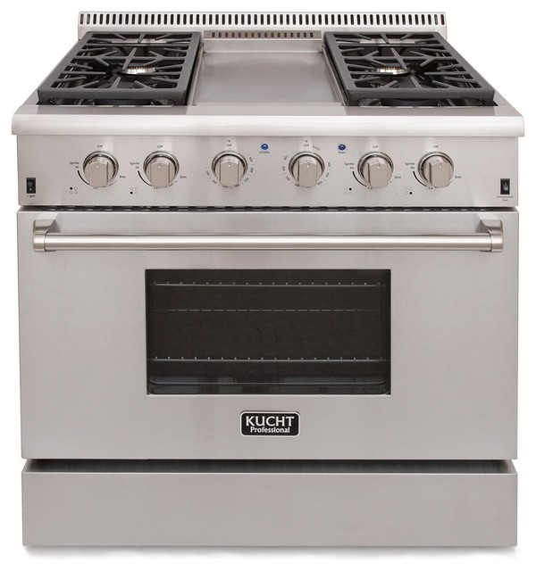 Kucht 36 Professional-Class Gas Range With 5.2 Cu. Ft. Convection Oven.