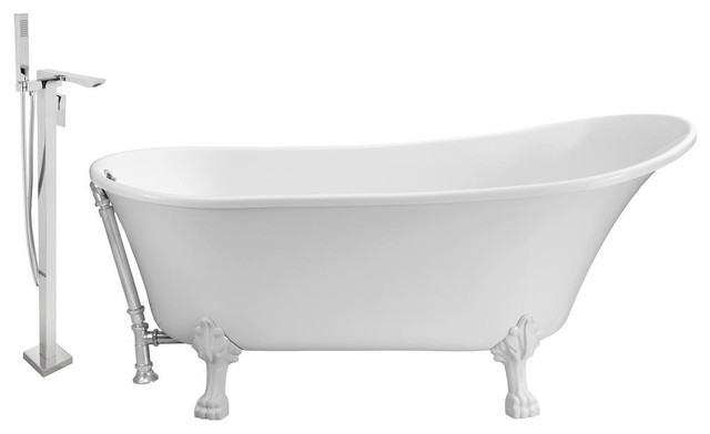 """Faucet And Tub Set Streamline 59"""" Clawfoot Nh340wh-Ch-140."""