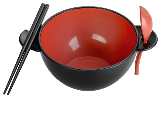 Ozeri Earth Ramen Bowl 6-Piece Set, 100% Made from a Plant, Red