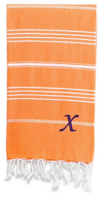 Lucky Pestemal Towel, Dark Orange, Chancery Purple Font, X.