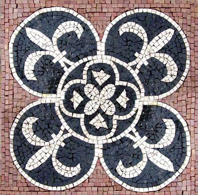 Blue And White Square Fleur De Lis Traditional