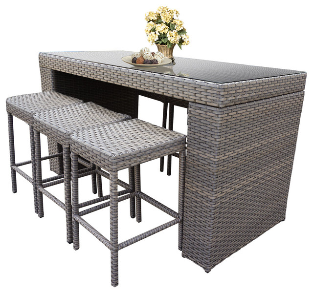 Oasis 7-Piece Outdoor Bar Table Set With Backless Bar Stools.