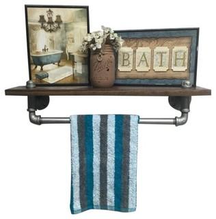Industrial Bathroom Shelf, Early American Nickel