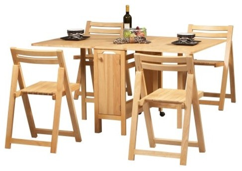 linon space saver 5 pc. folding table and chair set - contemporary