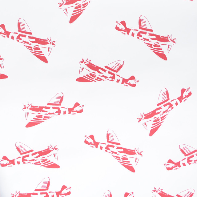 """PaperBoy Interiors """"Spitfires"""" Wallpaper, White and Red"""