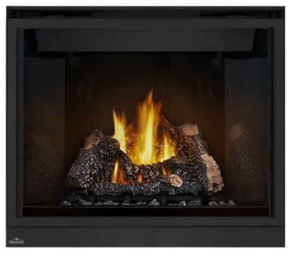 40 Top Vent Fireplace With Curved Accents Safety Barrier, Natural Gas.